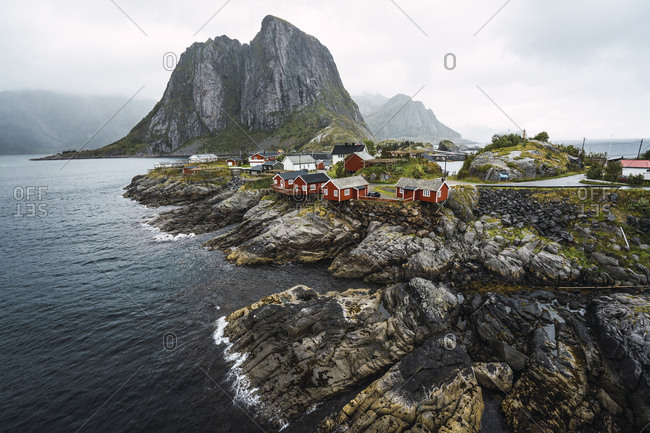 Norway- Lofoten- remote houses at rocky coast