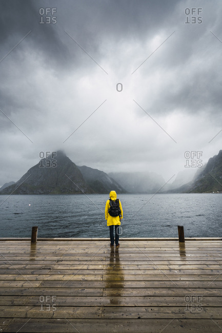 Norway- Lofoten- rear view of man standing on a pier at the coast
