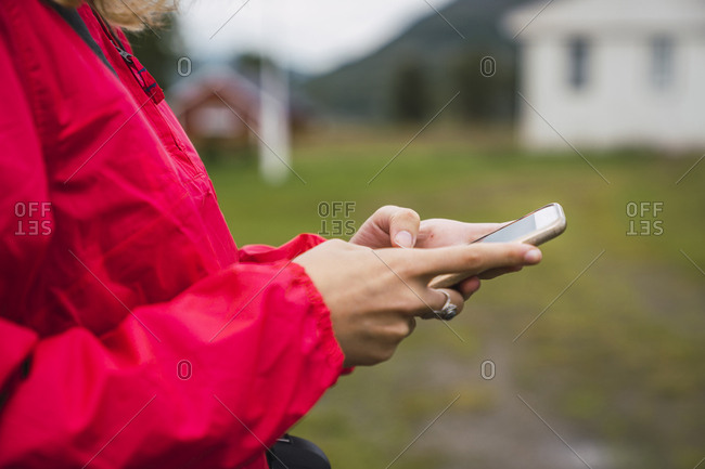 Close-up of woman using a cell phone