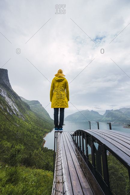 Norway- Senja island- rear view of man standing on an observation deck at the coast