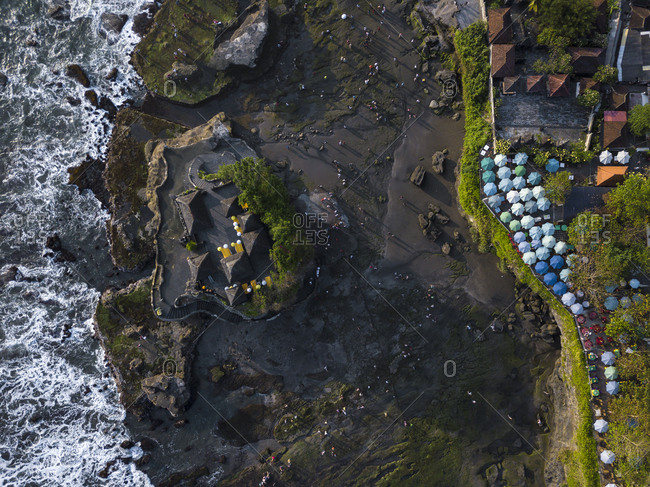 Indonesia- Bali- Aerial view of restaurant at Tanah Lot-temple