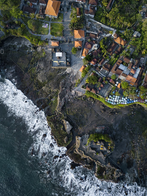 Indonesia- Bali- Aerial view of Tanah Lot temple