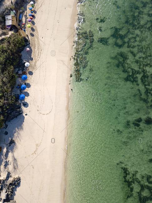Indonesia- Bali- Aerial view of Melasti beach
