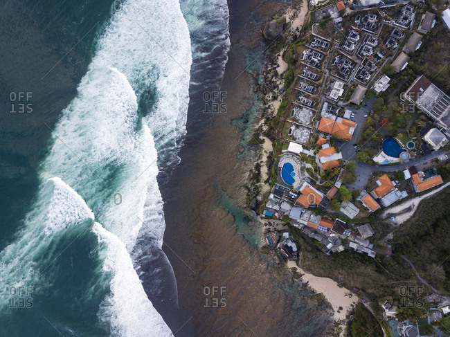 Indonesia- Bali- Aerial view of Uluwatu beach