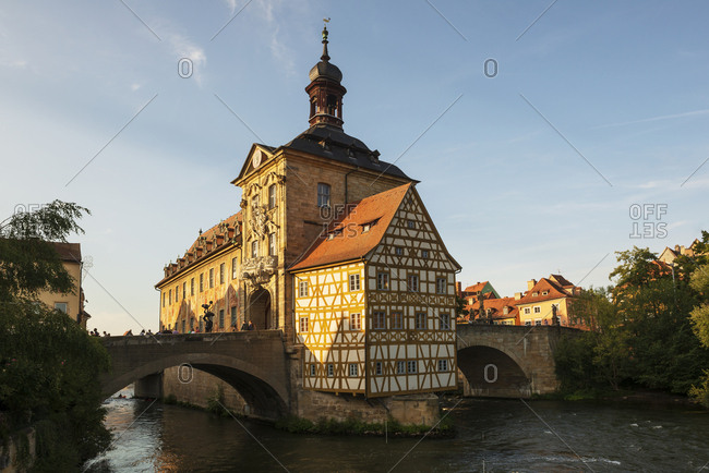 August 28, 2018: Germany- Bavaria- Upper Franconia- Bamberg- Old townhall- Obere Bruecke and Regnitz river