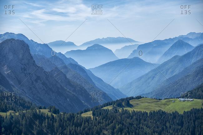 Italy- Trentino- Rendena valley- morning fog