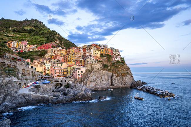 Italy- Liguria- Cinque Terre- Manarola in the evening