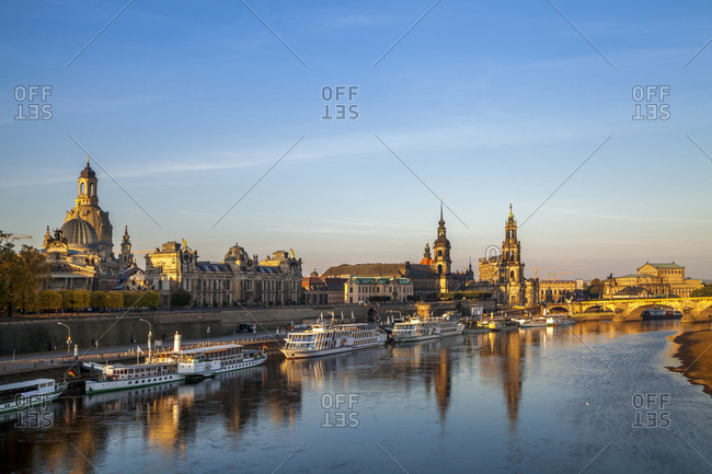 November 14, 2018: Germany- Saxony- Dresden- city view in the evening