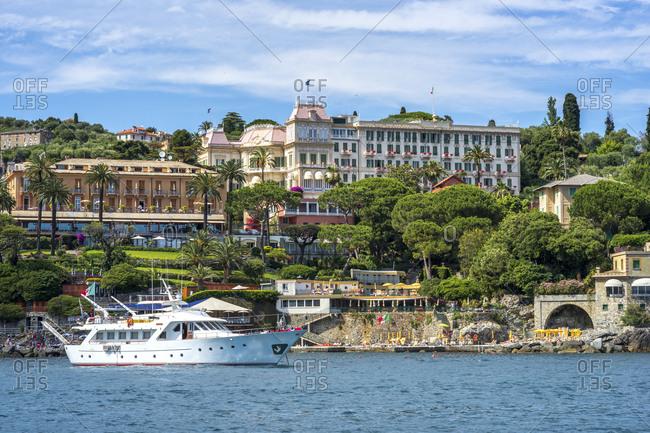 Italy- Liguria- Golfo del Tigullio- Yacht in front of Santa Margherita Ligure