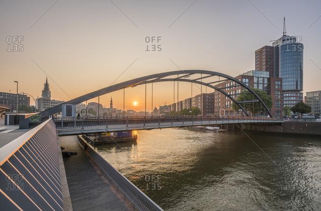 September 1, 2016: Germany- Hamburg- Niederbaum bridge in the morning