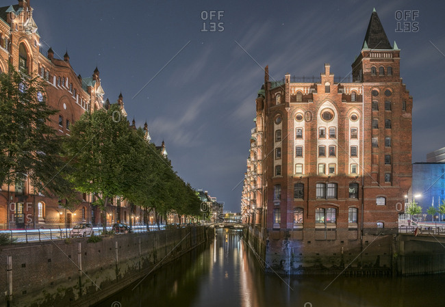 August 31, 2016: Germany- Hamburg- Speicherstadt in the evening
