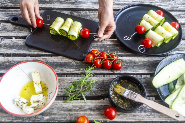 Vegetarian grill skewers- tomato and zucchini slices- sheep cheese