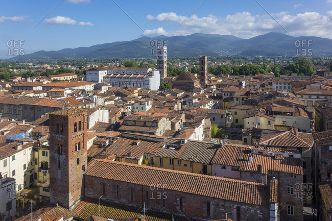 Aerial view of Lucca, Tuscany, Italy, Europe