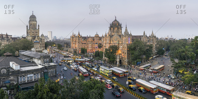January 23, 2018: Chhatrapati Shivaji Maharaj Terminus railway station (CSMT), formerly Victoria Terminus, UNESCO World Heritage Site, Mumbai, Maharashtra, India, Asia
