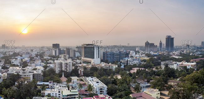 January 16, 2018: City skyline, Bangalore (Bangaluru), capital of the state of Karnataka, India, Asia