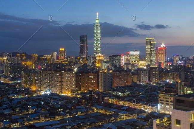 March 20, 2018: City skyline and Taipei 101 building, Taipei, Taiwan, Asia