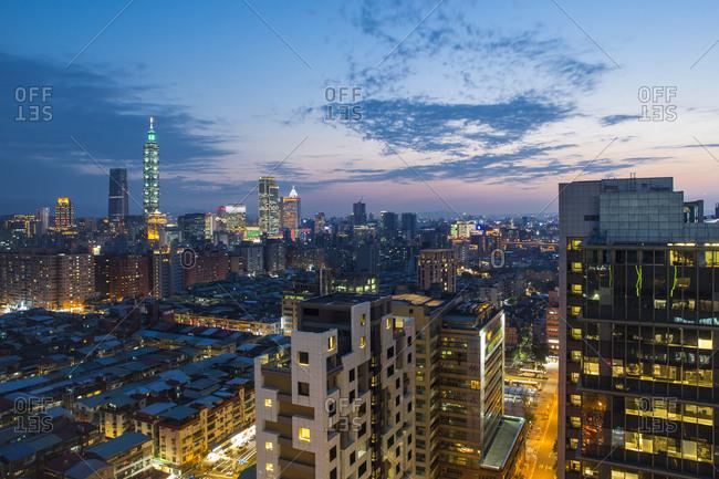March 21, 2018: City skyline and Taipei 101 building, Taipei, Taiwan, Asia