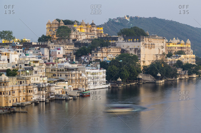 February 10, 2017: Lake Pichola and the City Palace in Udaipur, Rajasthan, India, Asia