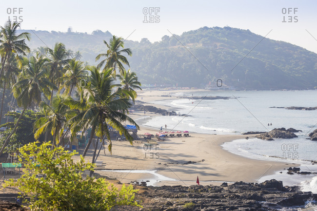 December 20, 2017: Ozran Beach known as Little Vagator Beach, Goa, India, Asia