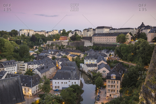 View over the Grund (Lower Town) towards Saint Esprit Plateau and the city beyond, Luxembourg City, Luxembourg, Europe