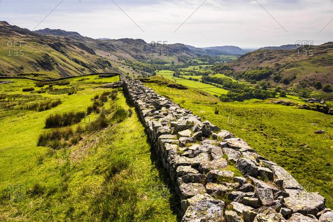 Hardknott Roman Fort, Hardknott Pass, Lake District National Park, UNESCO World Heritage Site, Cumbria, England, United Kingdom, Europe