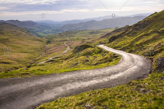 Hardknott Pass in Lake District National Park, UNESCO World Heritage Site, Cumbria, England, United Kingdom, Europe