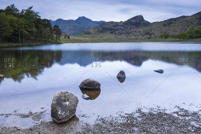 Blea Tarn at sunrise, Lake District National Park, UNESCO World Heritage Site, Cumbria, England, United Kingdom, Europe