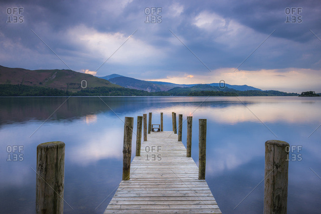 Pier at Derwent Water (Derwentwater) at sunset, Lake District National Park, UNESCO World Heritage Site, Cumbria, England, United Kingdom, Europe