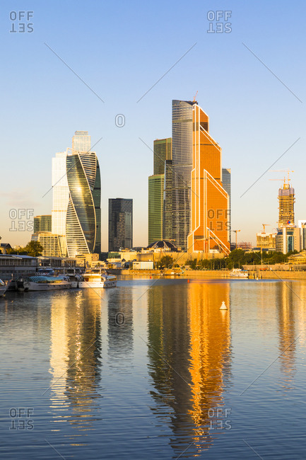 August 31, 2017: Skyscrapers in business center of Presnensky District, beside the Moscow River, Moscow, Russia, Europe