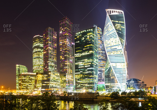September 1, 2017: Skyscrapers in business center of Presnensky District, beside the Moscow River at night, Moscow, Russia, Europe
