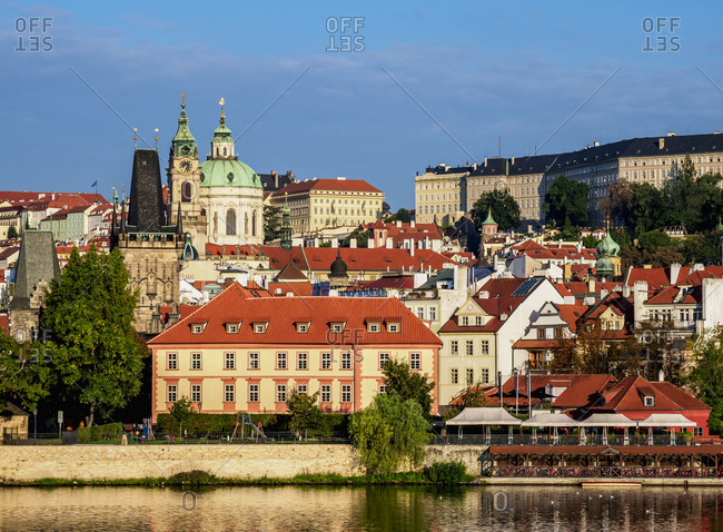 August 28, 2017: View over Vltava River towards Lesser Town, Prague, Bohemia Region, Czech Republic, Europe