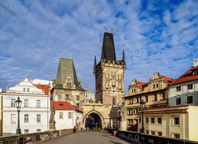 August 28, 2017: Lesser Town Bridge Tower, Charles Bridge, Mala Strana, Prague, UNESCO World Heritage Site, Bohemia Region, Czech Republic, Europe