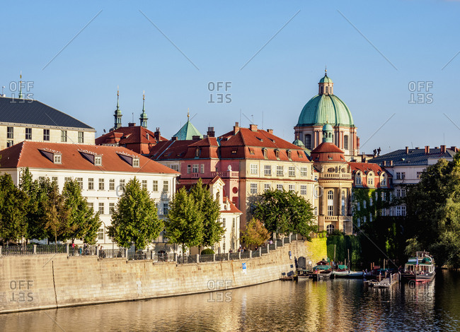 August 28, 2017: View over Vltava River towards Stare Mesto (Old Town), Prague, UNESCO World Heritage Site, Bohemia Region, Czech Republic, Europe