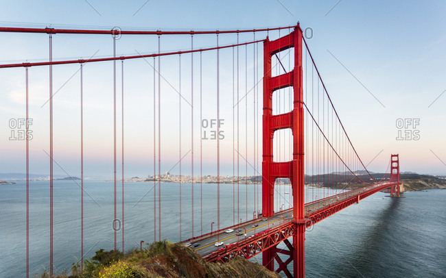 View of Golden Gate Bridge from Golden Gate Bridge Vista Point at sunset, San Francisco, California, United States of America, North America