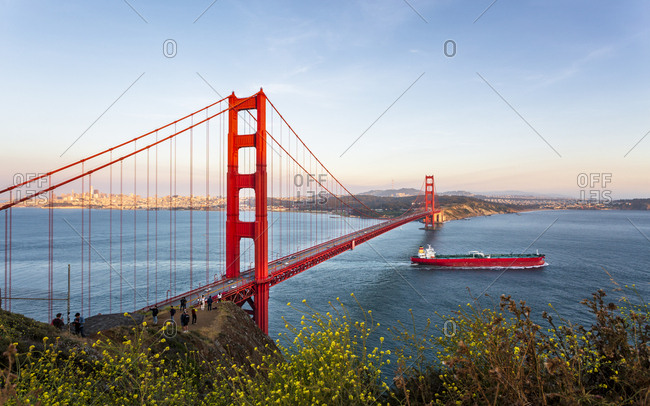 June 8, 2018: View of Golden Gate Bridge from Golden Gate Bridge Vista Point at sunset, San Francisco, California, United States of America, North America