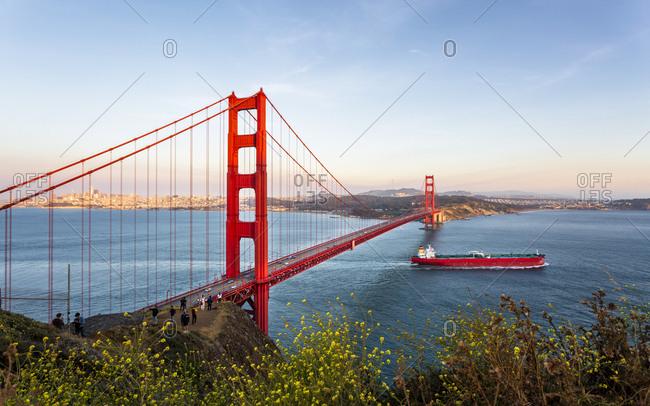 June 8, 2018: View of Golden Gate Bridge from Golden Gate Bridge Vista Point at sunset, San Francisco, California, United States of America, North America