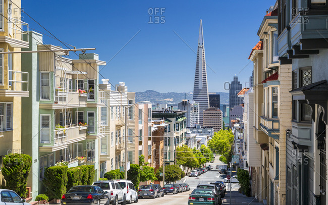 June 10, 2018: Street view of Transamerica Pyramid and Oakland Bay Bridge, San Francisco, California, United States of America, North America