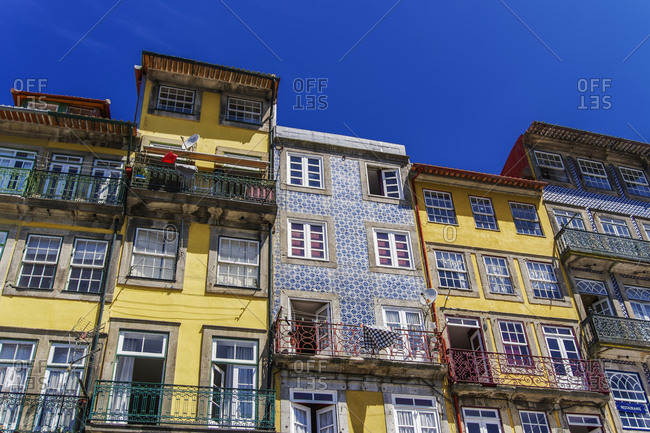 View of traditional buildings with balconies and azulejo tiles, Ribeira District, Porto, Portugal, Europe