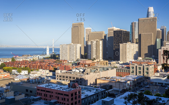 June 12, 2018: Oakland Bay Bridge and the financial district of downtown San Francisco, California, United States of America, North America