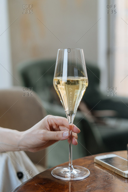 Woman holding a champagne glass