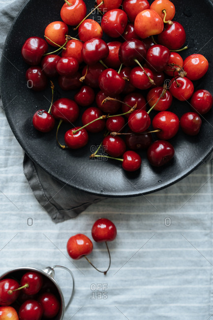 Overhead view of a bowl of cherries