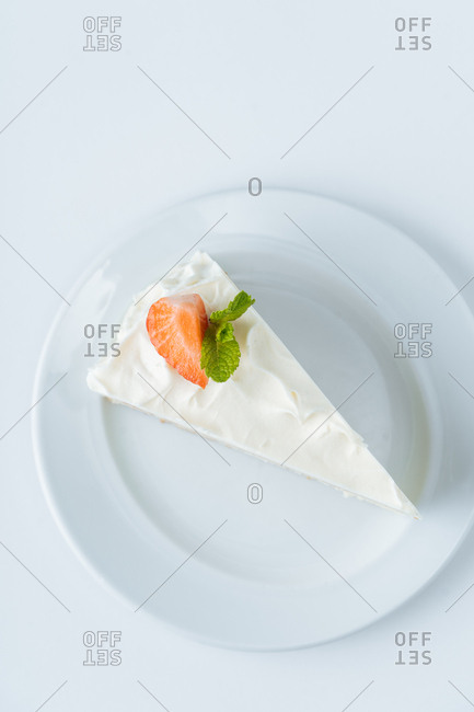 Overhead view of a slice of white pie