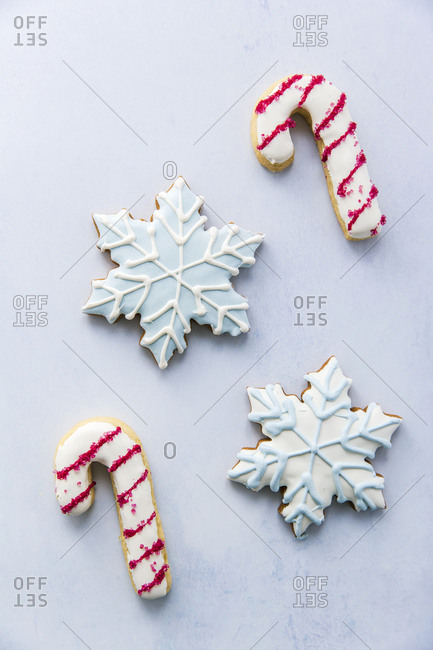 Four frosted christmas cookies