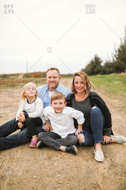Beautiful family portrait of a family of four