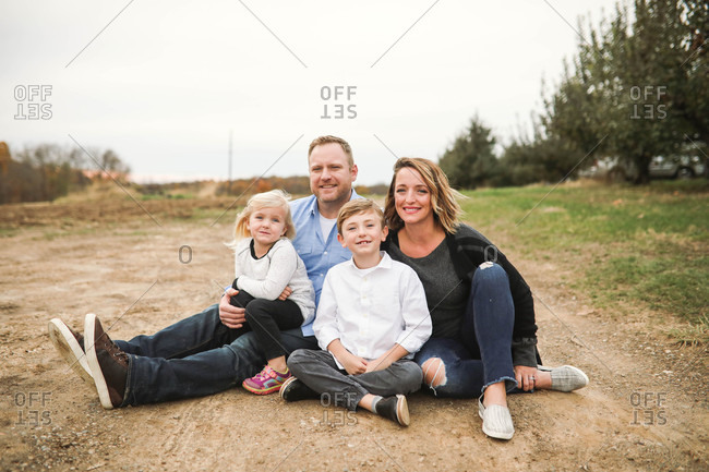 Family portrait of a family of four