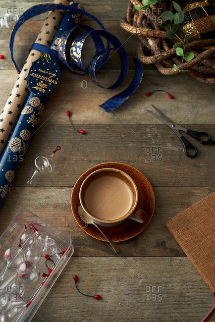 Christmas wrapping paper and cocoa