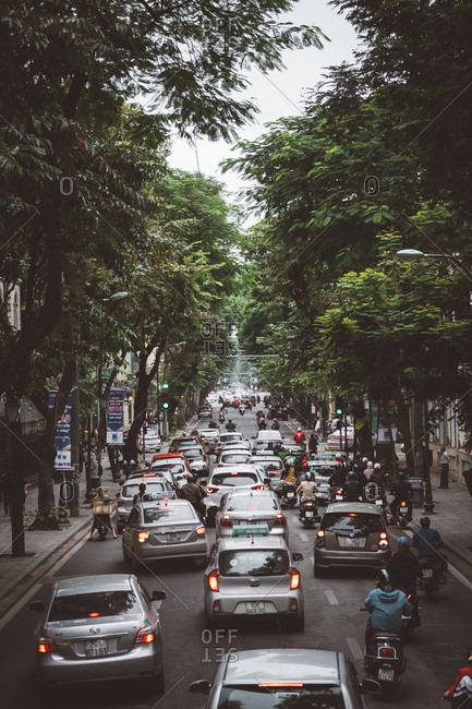Hanoi, Vietnam - October 17, 2018: Traffic jam on busy city street