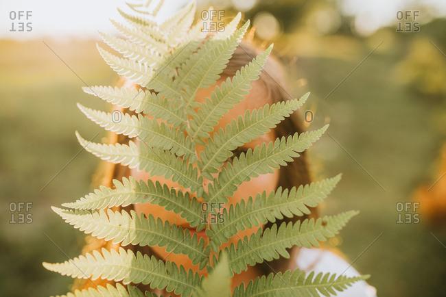Girl hiding behind fern plant