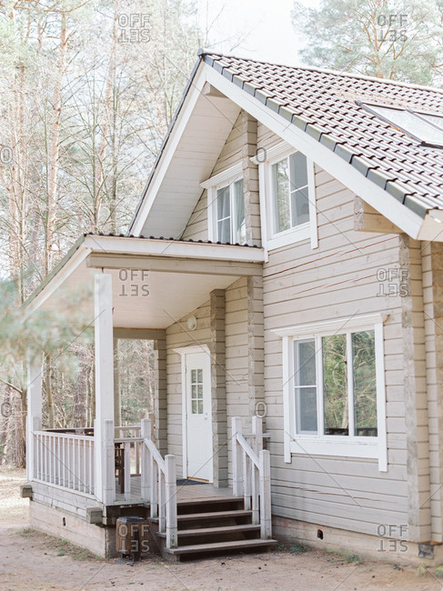 Modern rustic cabin stock photo - OFFSET