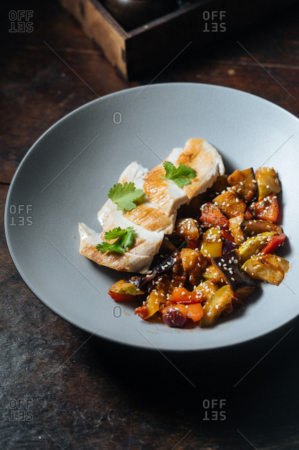 Roasted chicken and veggie dish